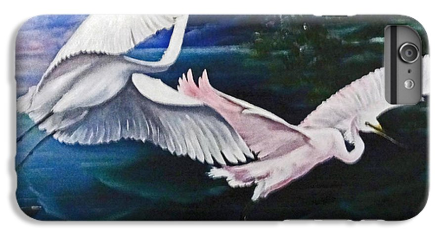 Snowy Egrets IPhone 6 Plus Case featuring the painting Early Flight by Karin Dawn Kelshall- Best