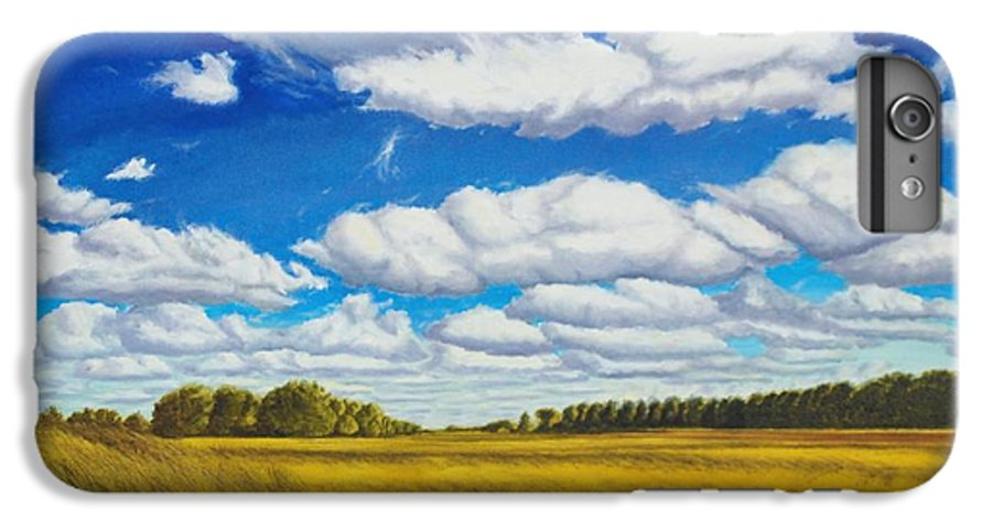 Wheat IPhone 6 Plus Case featuring the painting Early Summer Clouds by Leonard Heid
