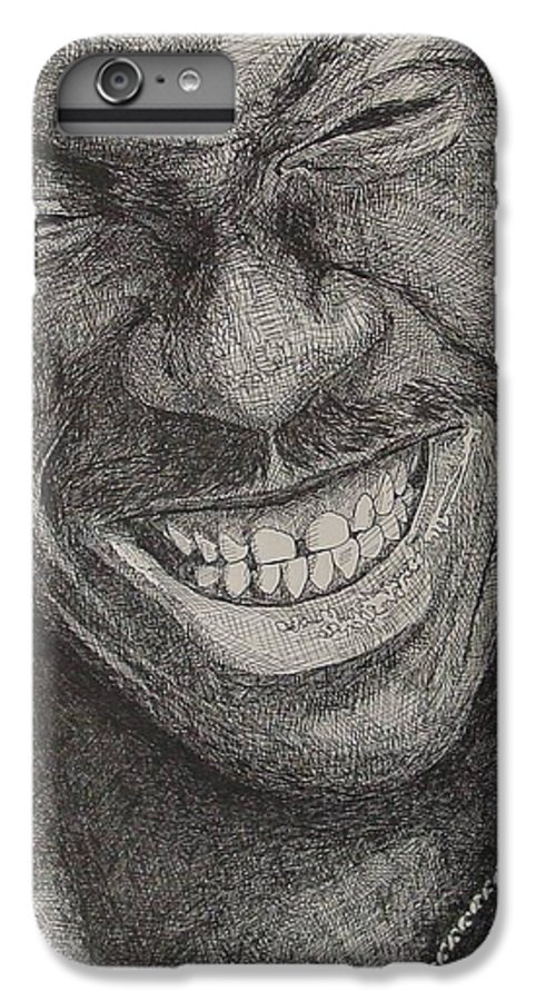 Portraiture IPhone 6 Plus Case featuring the drawing Eddie by Denis Gloudeman