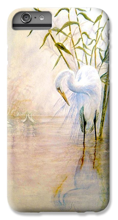 Eret; Bird; Low Country IPhone 6 Plus Case featuring the painting Egret by Ben Kiger