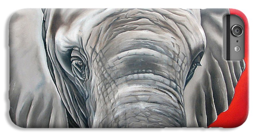 Elephant IPhone 6 Plus Case featuring the painting Elephant Six Of Eight by Ilse Kleyn