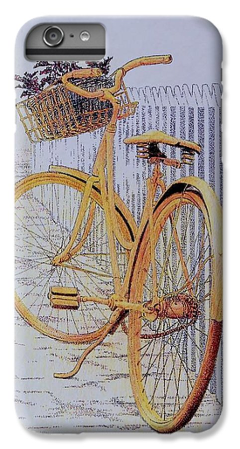 Bicycle Yellow Summer Flowers Plants IPhone 6 Plus Case featuring the painting Endless Summer by Tony Ruggiero