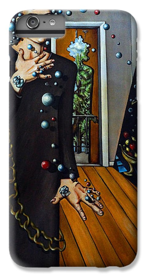 Surreal IPhone 6 Plus Case featuring the painting Existential Thought by Valerie Vescovi