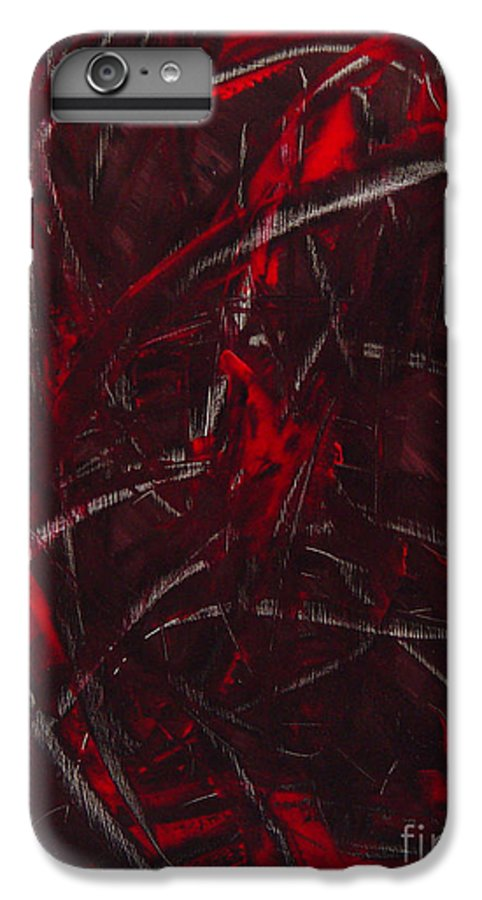 Abstract IPhone 6 Plus Case featuring the painting Expectations Red by Dean Triolo