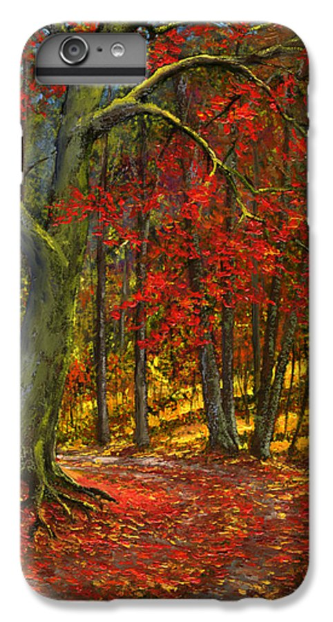 Landscape IPhone 6 Plus Case featuring the painting Fallen Leaves by Frank Wilson