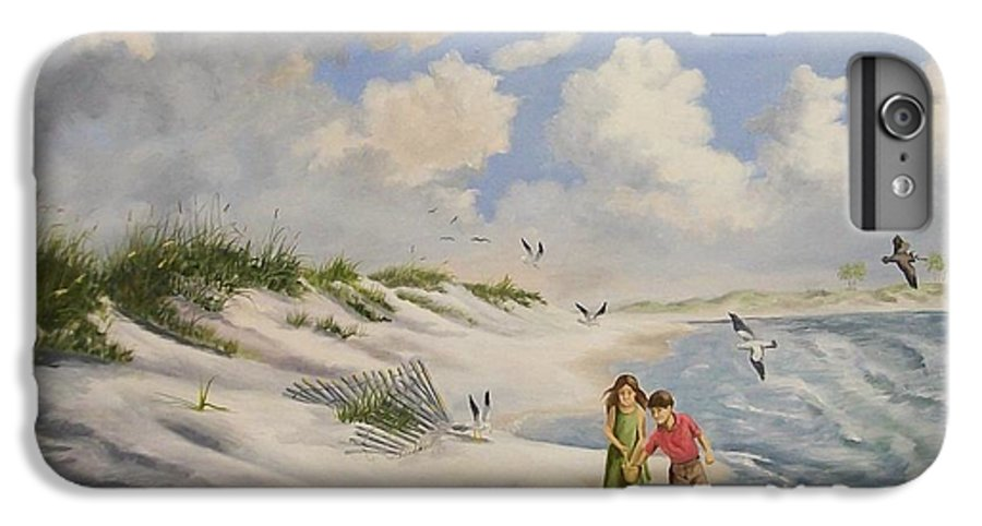 2 Children IPhone 6 Plus Case featuring the painting Feeding The Wildlife by Wanda Dansereau