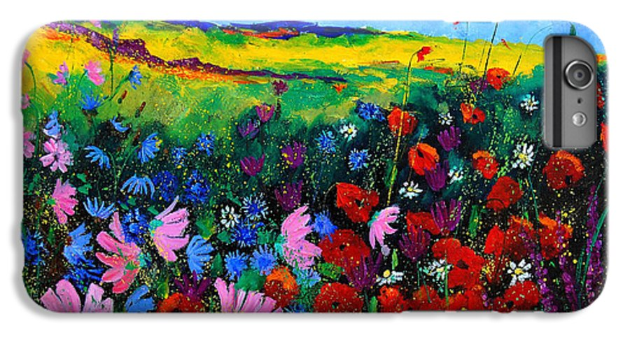 Poppies IPhone 6 Plus Case featuring the painting Field Flowers by Pol Ledent