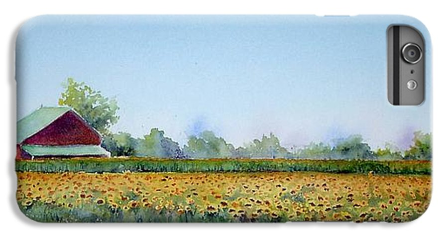 Landscape IPhone 6 Plus Case featuring the painting Field Of Sunshine by Patricia Henderson
