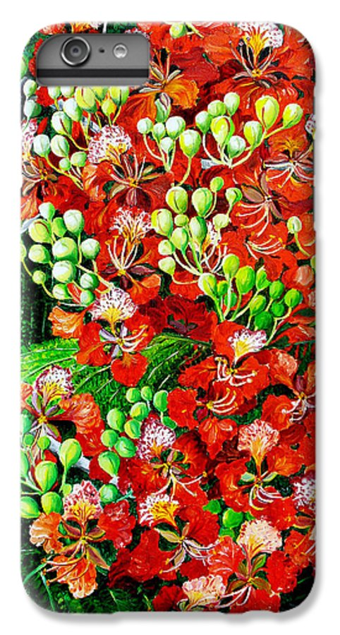Royal Poincianna Painting Flamboyant Painting Tree Painting Botanical Tree Painting Flower Painting Floral Painting Bloom Flower Red Tree Tropical Paintinggreeting Card Painting IPhone 6 Plus Case featuring the painting Flamboyant In Bloom by Karin Dawn Kelshall- Best