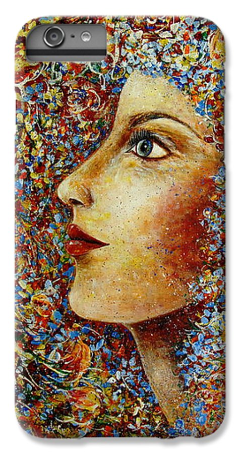 Flower Goddess IPhone 6 Plus Case featuring the painting Flower Goddess. by Natalie Holland