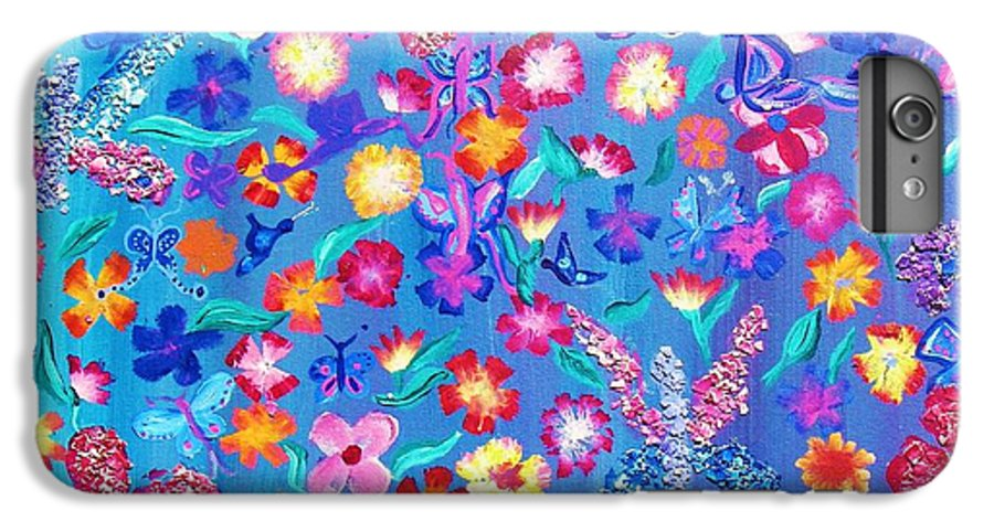 Floral IPhone 6 Plus Case featuring the painting Flowers And Butterflies by J Andrel