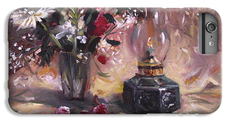 Flowers IPhone 6 Plus Case featuring the painting Flowers With Lantern by Nancy Griswold