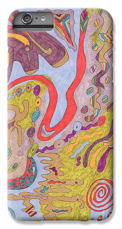 Butterfly IPhone 6 Plus Case featuring the drawing Flutterfly Land by Rebekah McLeod