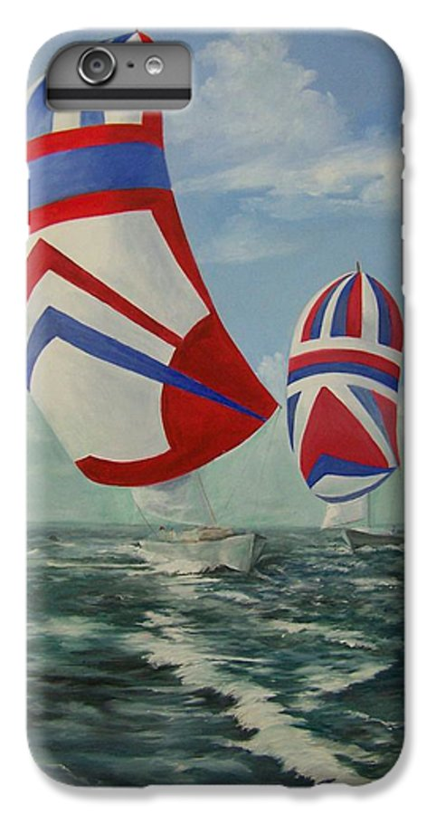 Sailing Ships IPhone 6 Plus Case featuring the painting Flying The Colors by Wanda Dansereau