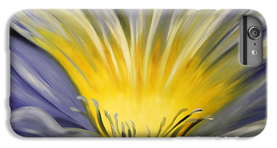 Blue IPhone 6 Plus Case featuring the painting From The Heart Of A Flower Blue by Gina De Gorna