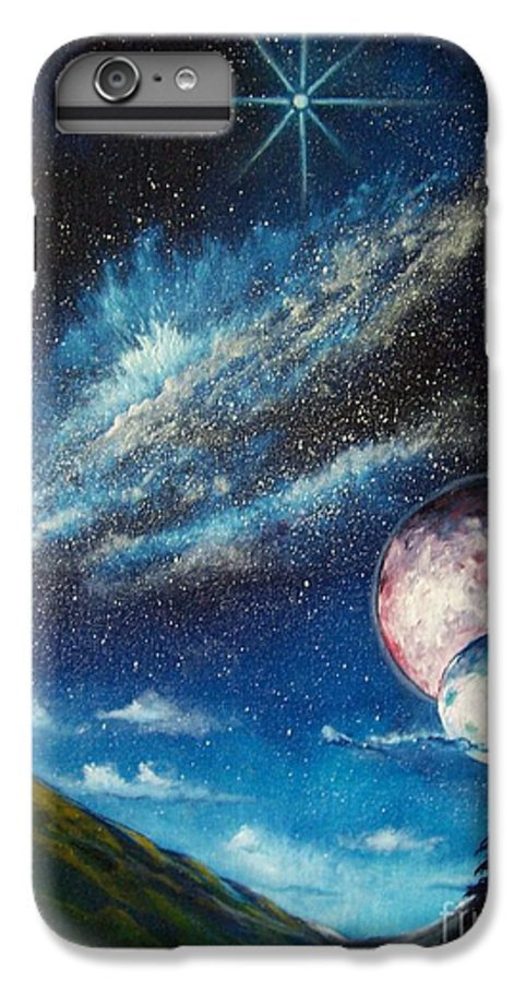 Space Horizon IPhone 6 Plus Case featuring the painting Galatic Horizon by Murphy Elliott