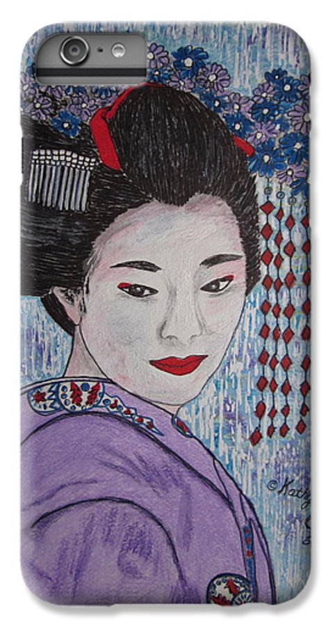 Oriental IPhone 6 Plus Case featuring the painting Geisha Girl by Kathy Marrs Chandler