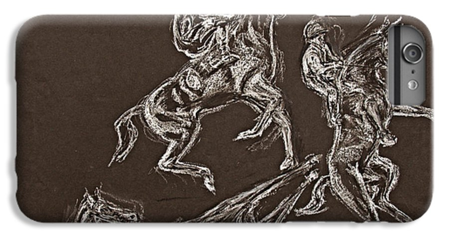 Rearing Horse IPhone 6 Plus Case featuring the drawing Ghost Riders In The Sky by Tom Conway