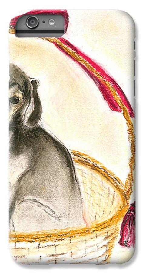 Dog IPhone 6 Plus Case featuring the drawing Gift Basket by Cori Solomon