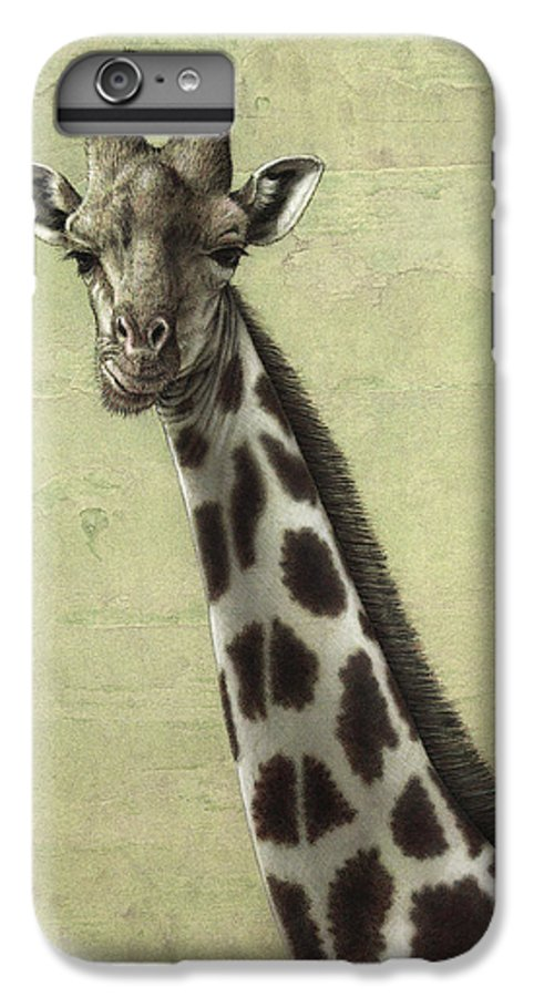 Giraffe IPhone 6 Plus Case featuring the painting Giraffe by James W Johnson