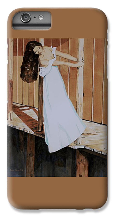 Girl On Dock IPhone 6 Plus Case featuring the painting Girl On Dock by Judy Swerlick