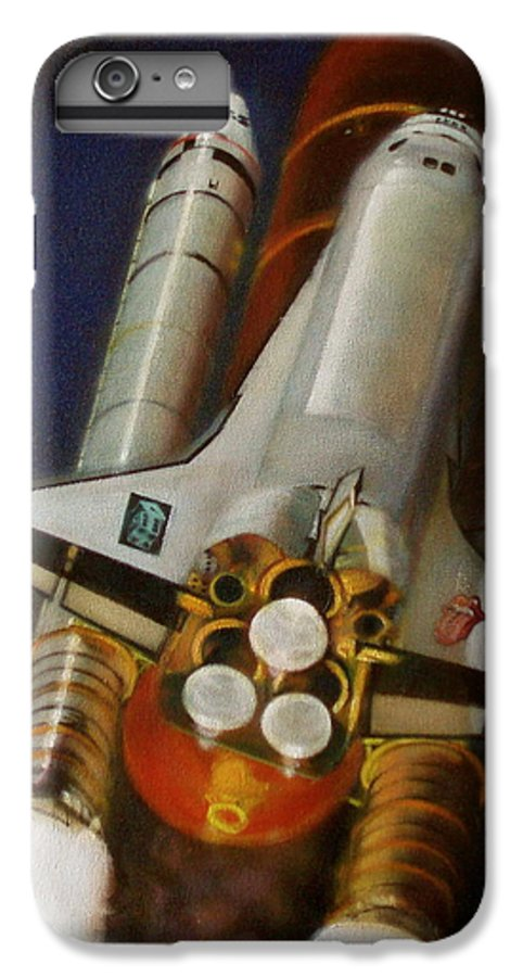 Space Shuttle;launch;liftoff;blastoff;rockets;engines;astronauts;spaceart;nasa;photorealism IPhone 6 Plus Case featuring the painting God Plays Dice by Sean Connolly
