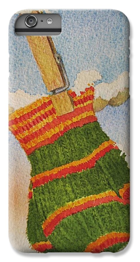 Children IPhone 6 Plus Case featuring the painting Green Mittens by Mary Ellen Mueller Legault