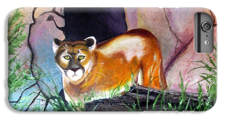 Big Cats IPhone 6 Plus Case featuring the painting Guarding The Cave by Lora Duguay