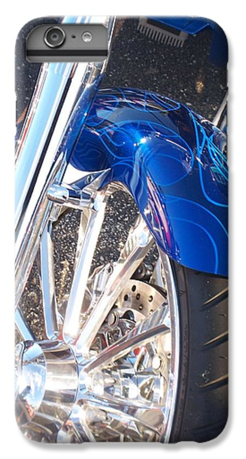 Motorcycles IPhone 6 Plus Case featuring the photograph Harley Close-up Blue Flame by Anita Burgermeister