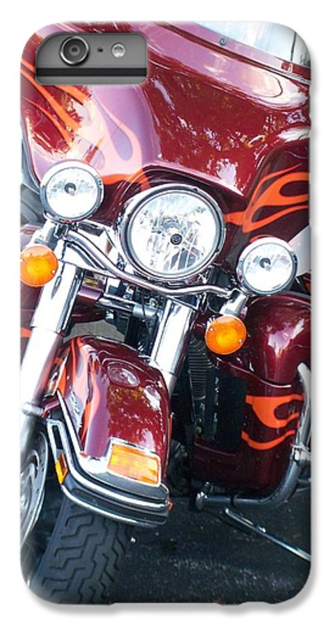 Motorcycles IPhone 6 Plus Case featuring the photograph Harley Red W Orange Flames by Anita Burgermeister