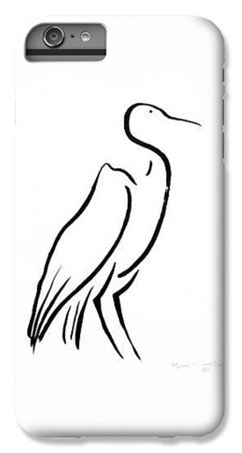 Calligraphy IPhone 6 Plus Case featuring the drawing Heron by Micah Guenther