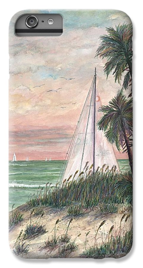Sailboats; Palm Trees; Ocean; Beach; Sunset IPhone 6 Plus Case featuring the painting Hideaway by Ben Kiger