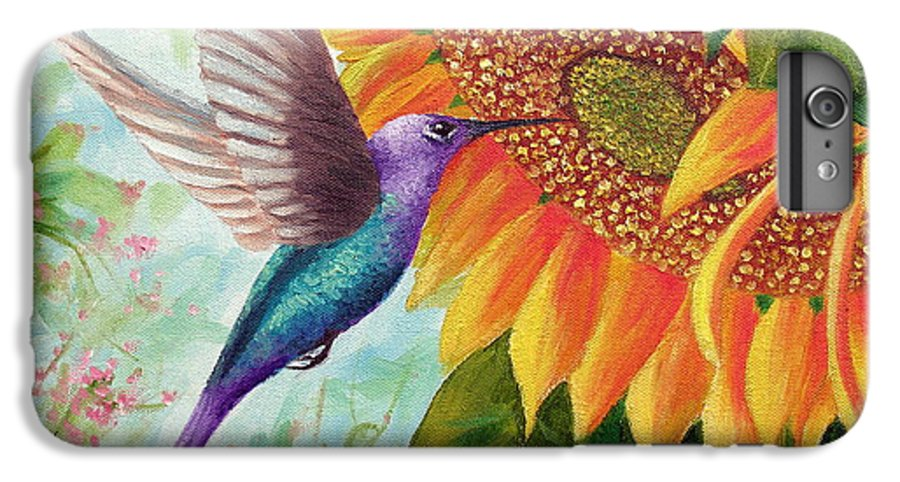 Hummingbird IPhone 6 Plus Case featuring the painting Humming For Nectar by David G Paul