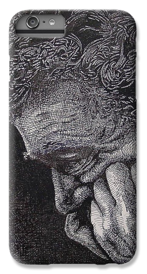 Portraiture IPhone 6 Plus Case featuring the drawing Introspection by Denis Gloudeman