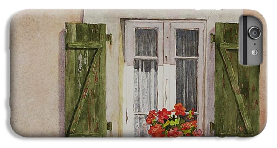 Watercolor IPhone 6 Plus Case featuring the painting Irvillac Window by Mary Ellen Mueller Legault