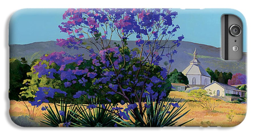 Acrylics IPhone 6 Plus Case featuring the painting Jacaranda Holy Ghost Church In Kula Maui Hawaii by Don Jusko