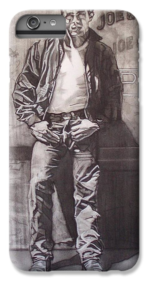 Charcoal; Icon;americana;cool;window;sidewalk;street;rock And Roll;jeans;t-shirt;diner;movie Star IPhone 6 Plus Case featuring the drawing James Dean by Sean Connolly