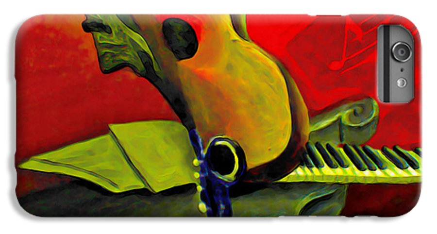 Abstract IPhone 6 Plus Case featuring the painting Jazz Infusion by Fli Art