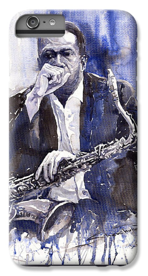 Jazz IPhone 6 Plus Case featuring the painting Jazz Saxophonist John Coltrane Blue by Yuriy Shevchuk