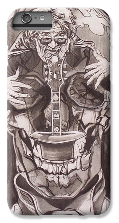 Charcoal; Skull;guitar;music;magic;mystic;wizard;cape;hat;shades;grateful Dead;deadheads IPhone 6 Plus Case featuring the drawing Jerry Garcia . . Magic Is What We Do - Music Is How We Do It by Sean Connolly