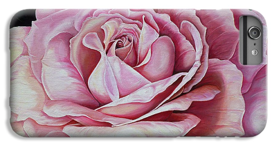 Rose Painting Pink Rose Painting  Floral Painting Flower Painting Botanical Painting Greeting Card Painting IPhone 6 Plus Case featuring the painting La Bella Rosa by Karin Dawn Kelshall- Best