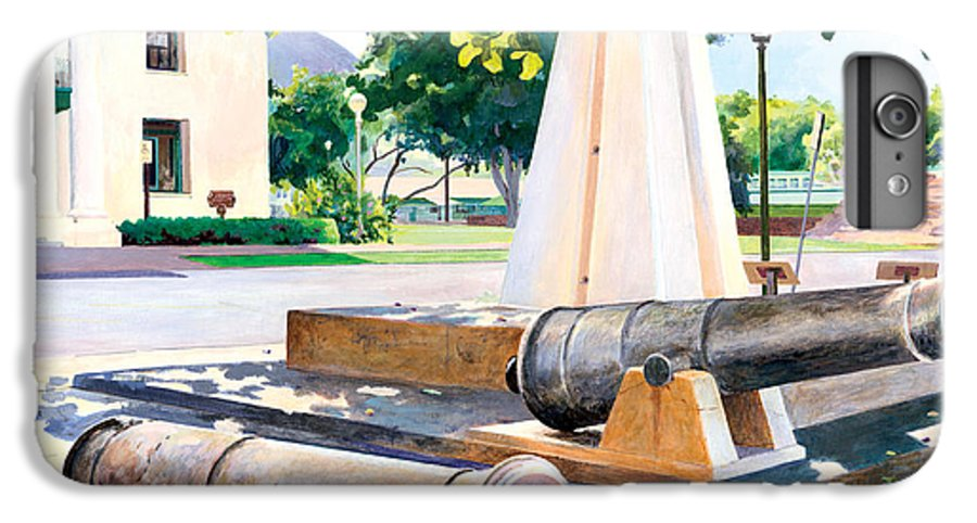 Lahaina Maui Cannons IPhone 6 Plus Case featuring the painting Lahaina 1812 Cannons by Don Jusko