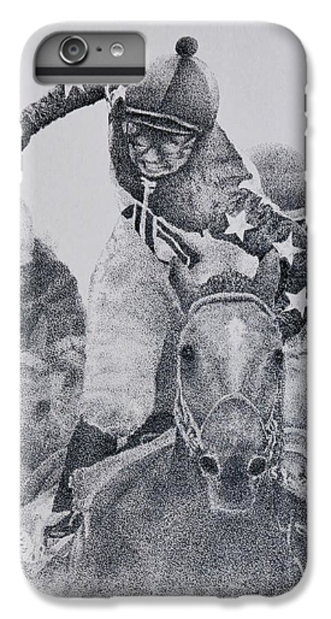 Horses Horse Racing Jockeys Racetrack Azeri Thorobreds IPhone 6 Plus Case featuring the painting Last Call by Tony Ruggiero