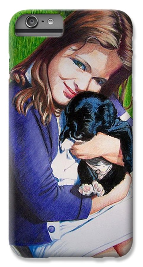 Girl IPhone 6 Plus Case featuring the mixed media Leslie And Sergeant by Constance Drescher