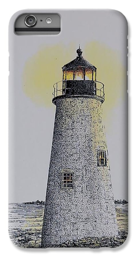 New England Lighthouse Seascape Landscape Pen & Ink Watercolor Coastline Connecticut IPhone 6 Plus Case featuring the painting Light On The Sound by Tony Ruggiero