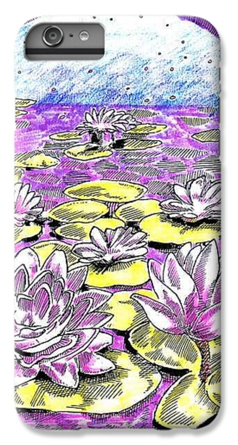 Lilies Of The Lake IPhone 6 Plus Case featuring the drawing Lilies Of The Lake by Seth Weaver