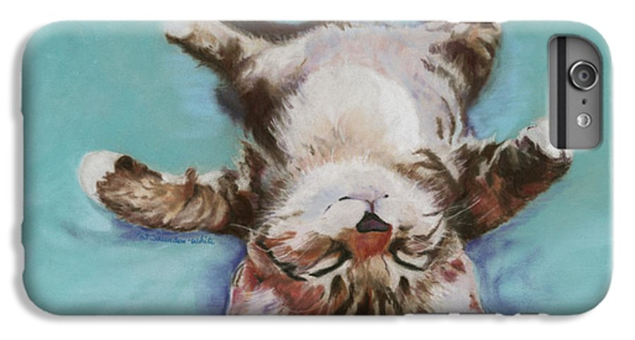 Cat Painting IPhone 6 Plus Case featuring the pastel Little Napper by Pat Saunders-White