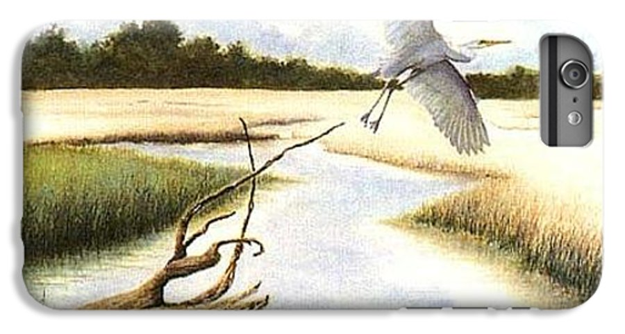 Egret IPhone 6 Plus Case featuring the painting Low Country Marsh by Ben Kiger
