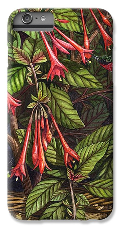 Fuchsia IPhone 6 Plus Case featuring the painting Lurking by Catherine G McElroy