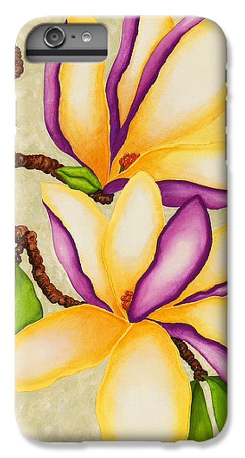Two Magnolias IPhone 6 Plus Case featuring the painting Magnolias by Carol Sabo